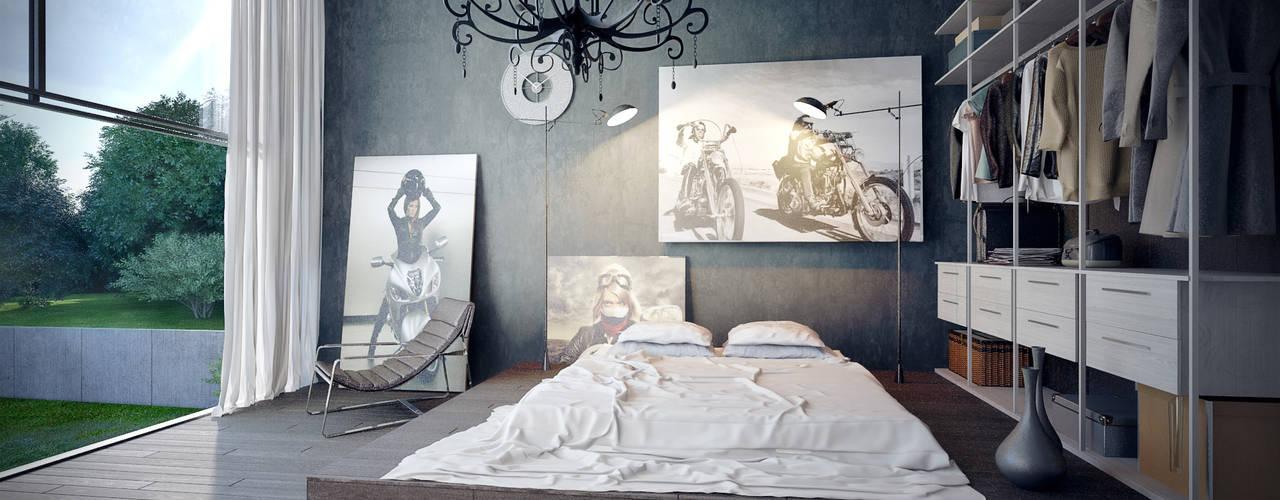"""Концептуальный проект """"Жилище с мотоциклами"""": Спальни в . Автор – Барнаш"""