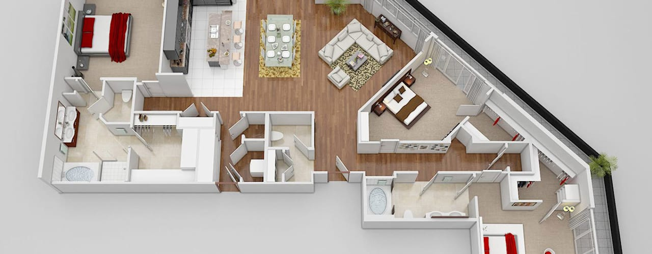 3D Floor Plan Design por Yantram Architectural Design Studio