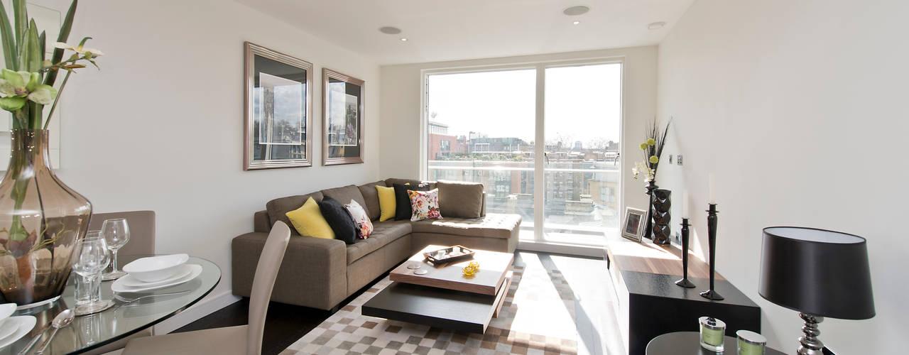 Un soggiorno moderno parete attrezzata con stile Soggiorno stile moderno