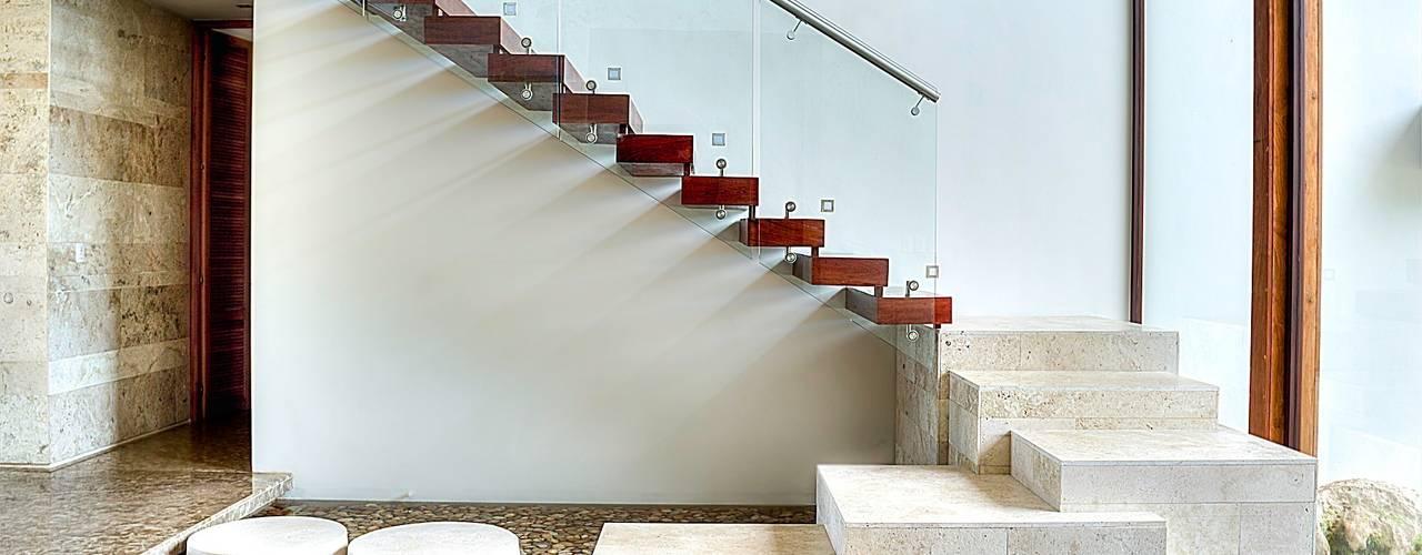 CASA JT: Pasillos y recibidores de estilo  por Ancona + Ancona Arquitectos, Tropical