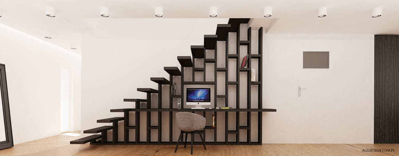 Mieszkanie 118m2 w Villa lux w Dąbrowie Ale design Grzegorz Grzywacz Nowoczesne domowe biuro i gabinet