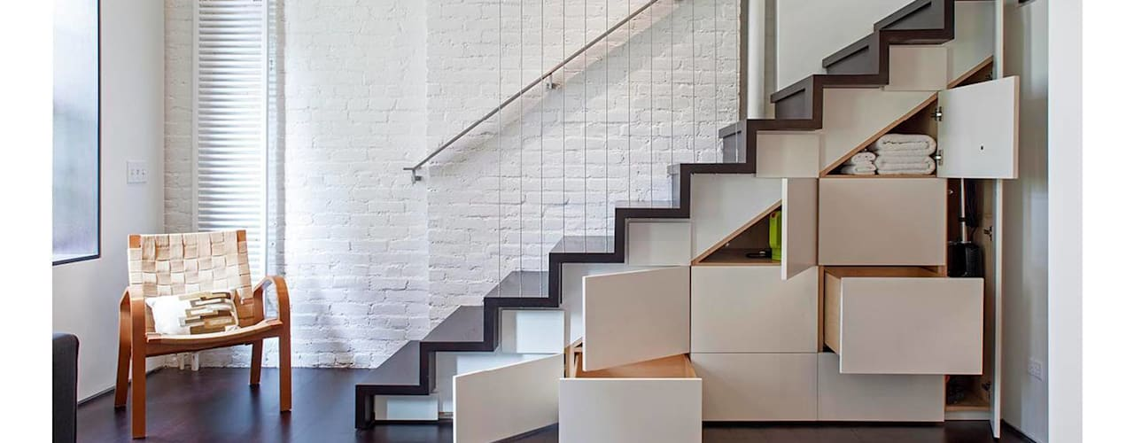 Manhattan Micro-Loft Modern Corridor, Hallway and Staircase by Specht Architects Modern