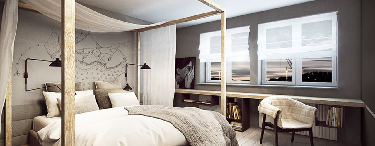 Camera da letto in stile scandinavo di razoo-architekci Scandinavo