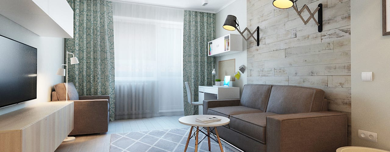 غرفة المعيشة تنفيذ Ekaterina Donde Design,