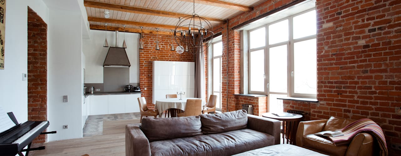 Salas de estilo industrial por Дизайн-студия интерьера 'ART-B.O.s'