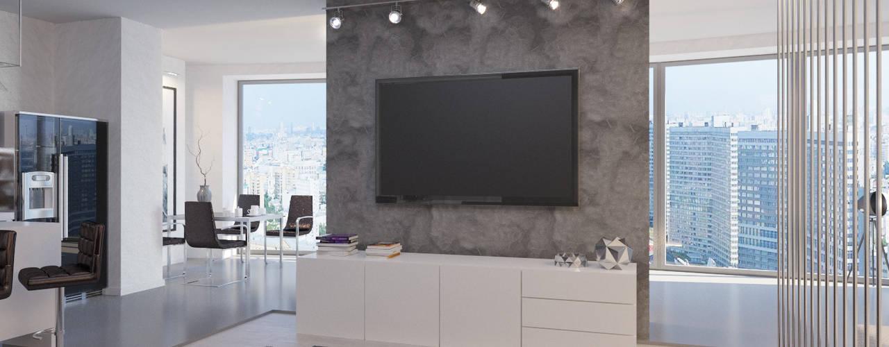 Студия-лофт в Тюмени: визуализация и дизайн: Гостиная в . Автор – OK Interior Design