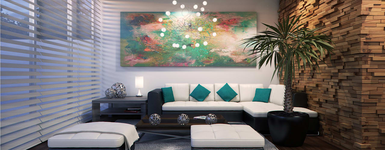 Living Room Salones de estilo moderno de Lights & Shades Studios Moderno