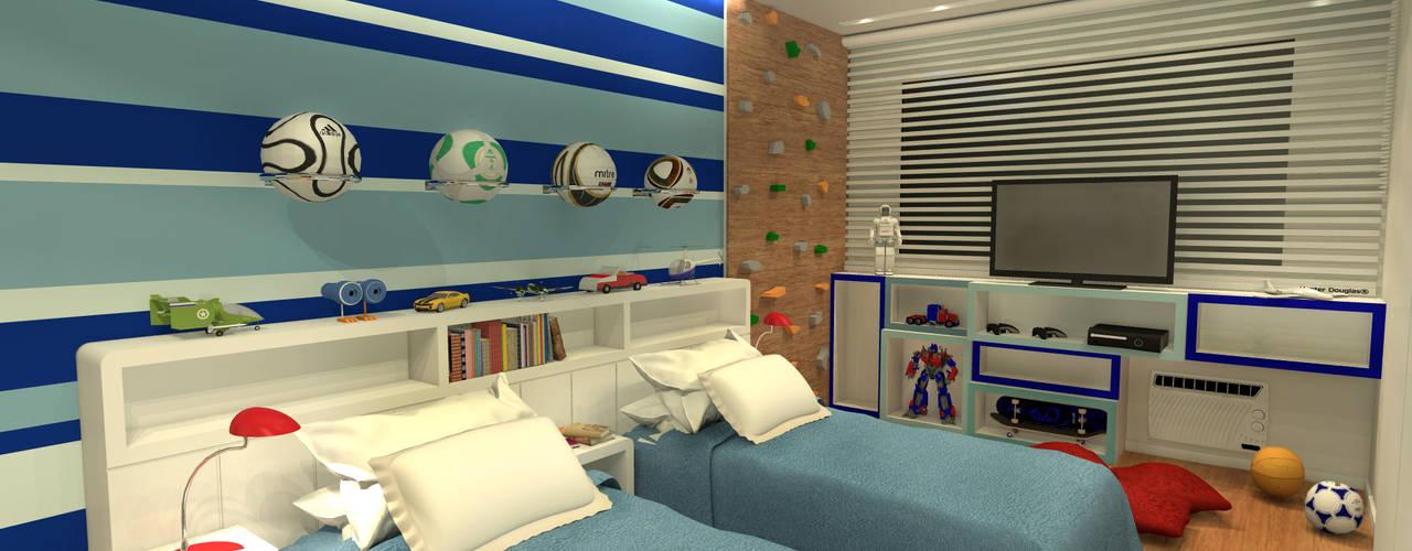 Quarto Gêmeos - Copacabana RJ Quarto infantil moderno por Konverto Interiores + Arquitetura Moderno