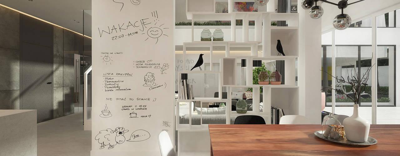 Wnętrze inspirowane kolorem Nowoczesna jadalnia od ELEMENTY - Pracownia Architektury Wnętrz Nowoczesny