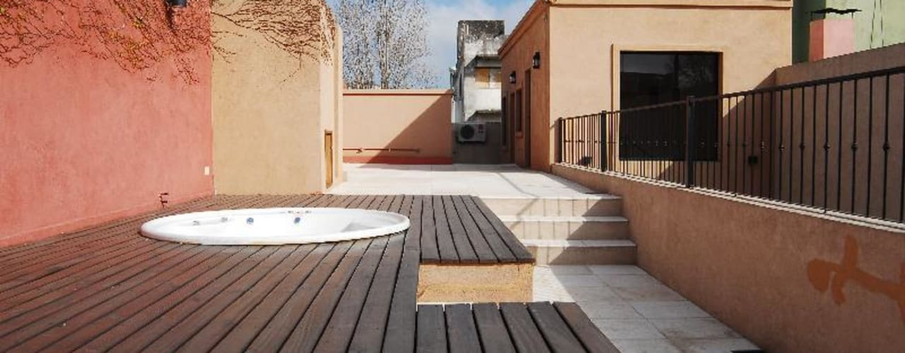 Varandas, alpendres e terraços ecléticos por Parrado Arquitectura Eclético