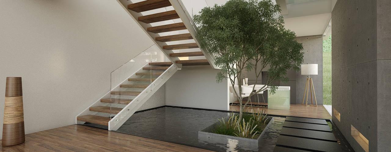 Pasillos y hall de entrada de estilo  por 21arquitectos,