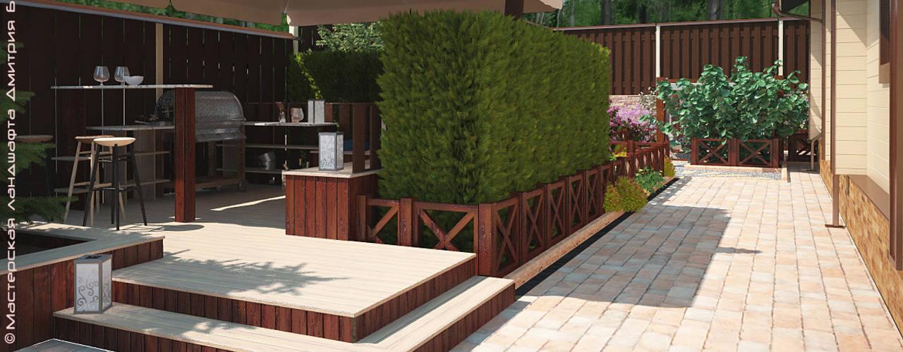 Terrasse de style  par Мастерская ландшафта Дмитрия Бородавкина,