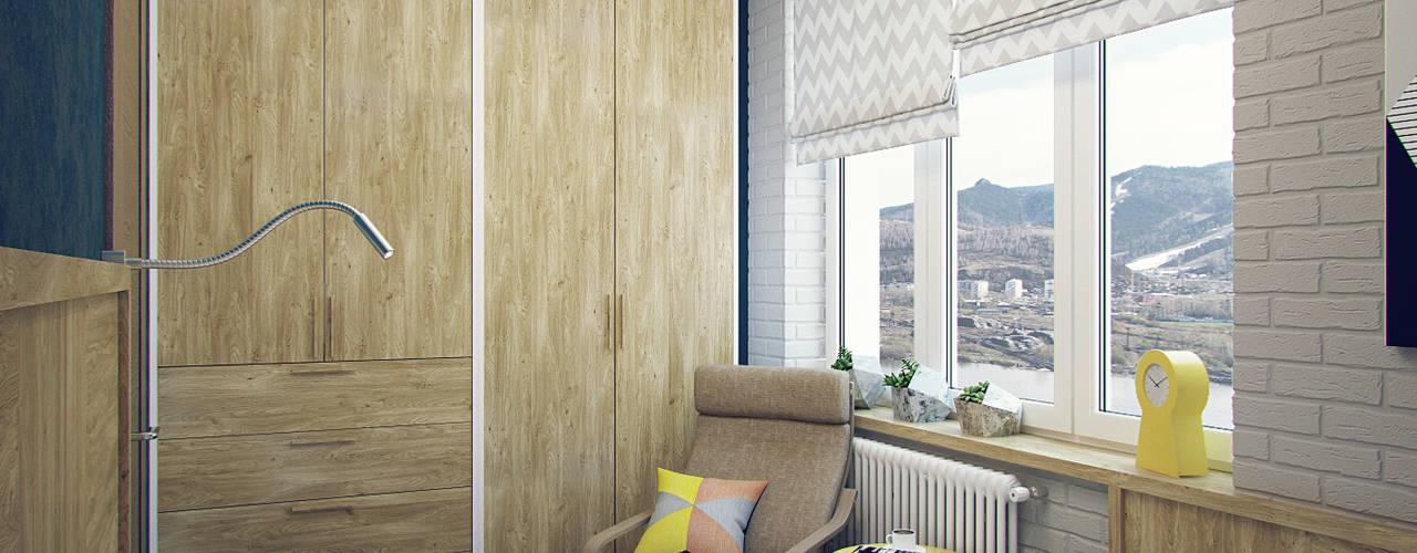 Camera da letto piccola in stile  di Студия дизайна Марии Губиной , Industrial