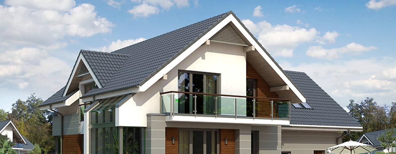 Elewacja ogrodowa projektu Jaspis 6: styl nowoczesne, w kategorii Domy zaprojektowany przez Biuro Projektów MTM Styl - domywstylu.pl