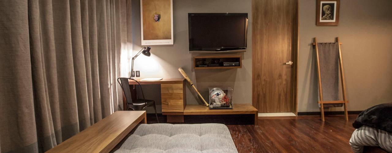 Projekty,  Sypialnia zaprojektowane przez Nómada Studio