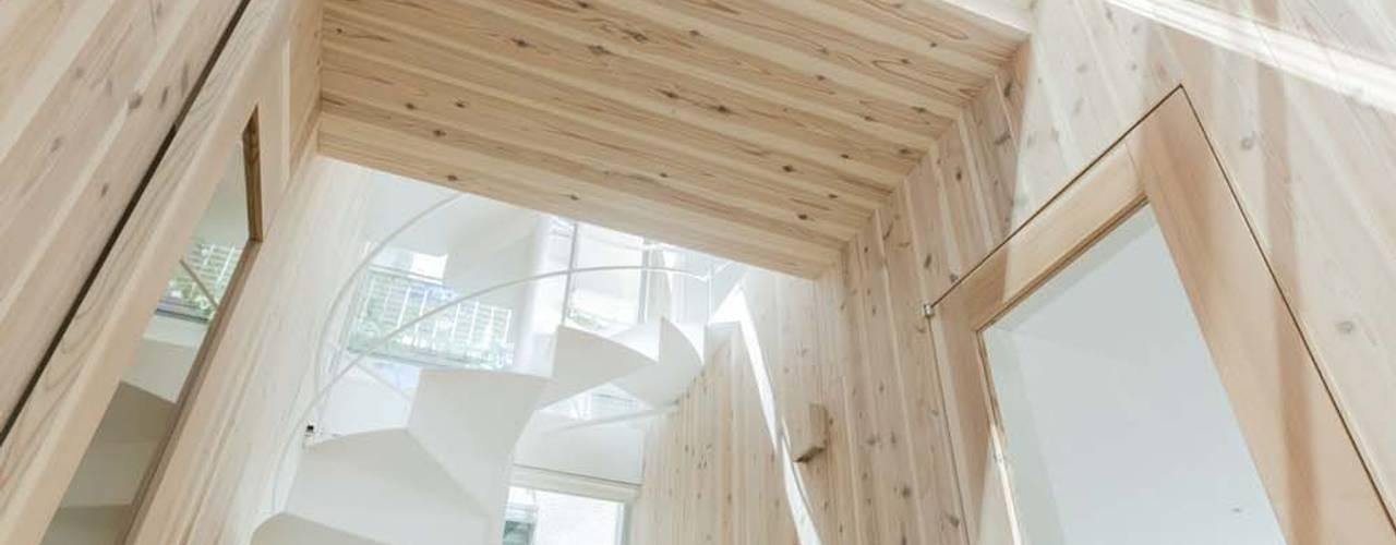 Modern corridor, hallway & stairs by ディンプル建築設計事務所 Modern