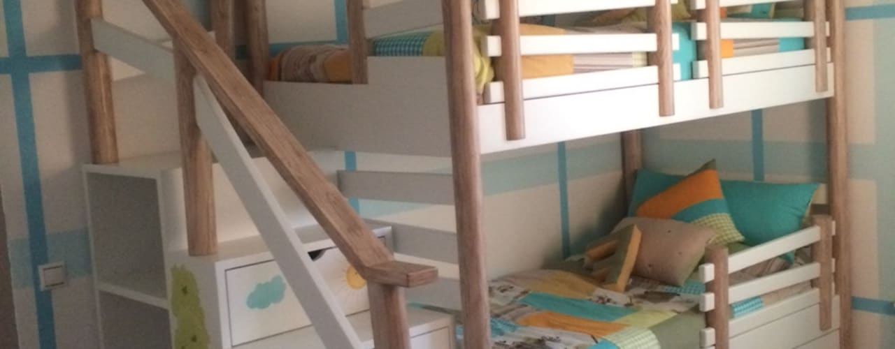 Beliche Cabana com Escada Estante por Oficina Rústica (OFR Unipessoal Lda) Eclético