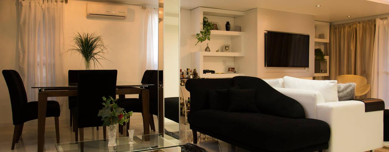 Projekty,  Jadalnia zaprojektowane przez HAPPY Arquitetura