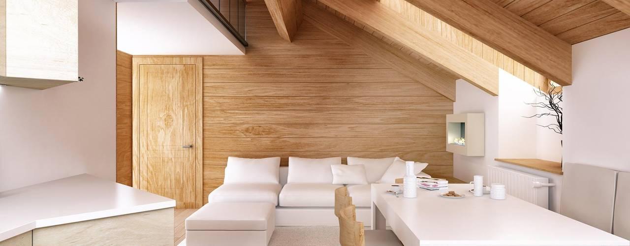 Sottotetto Architetto Luigia Pace Soggiorno in stile rustico Legno Marrone