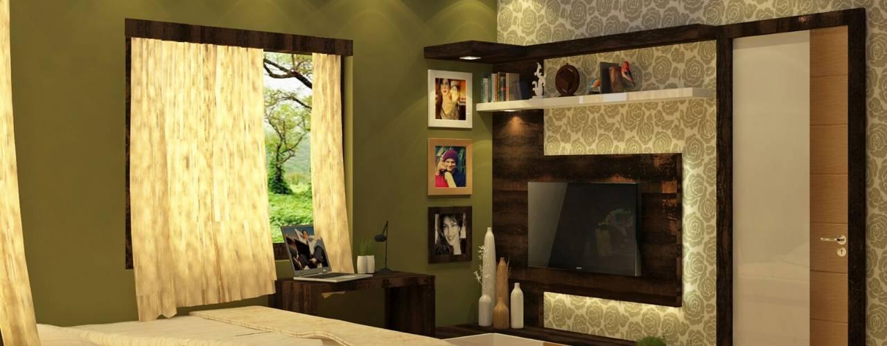 Room 5 tv view: modern Bedroom by Creazione Interiors