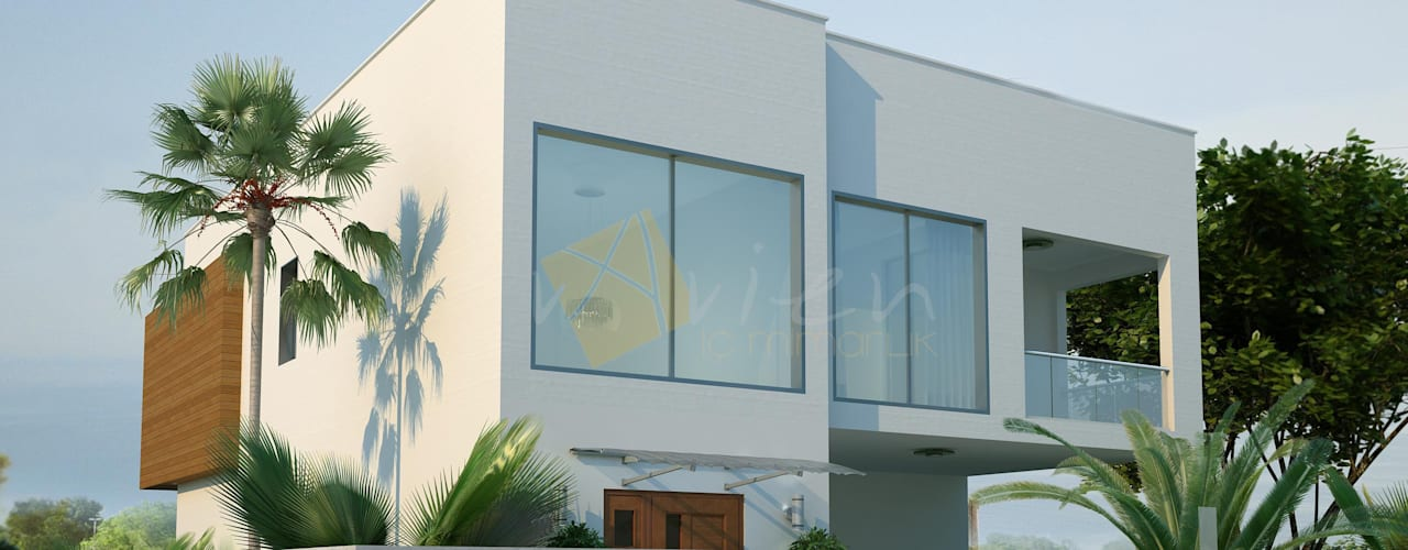 Murat Aksel Architecture Casas modernas Cerâmica Branco
