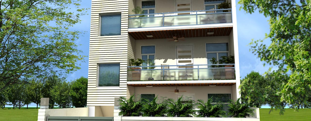 C-1860 Sushant Lok 1, Gurgaon, Haryana: modern Houses by Indeera Builders Private Limited