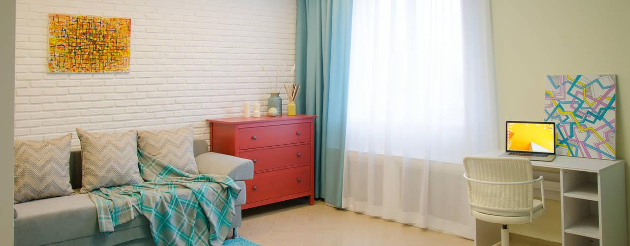 Студия дизайна Виктории Силаевой Ruang Keluarga Gaya Skandinavia White