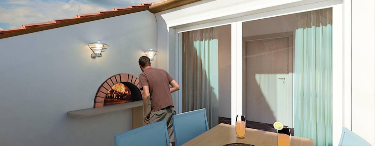 Mansarde Balcone, Veranda & Terrazza in stile moderno di Damiano Ferrando | Architectural Visualization | Moderno