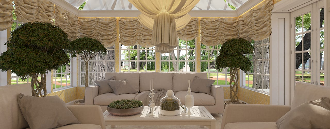 Jardin d'hiver de style  par EVGENY BELYAEV DESIGN