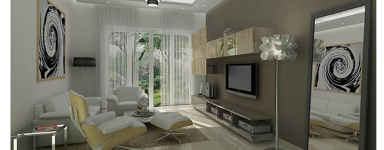 Projekty,  Salon zaprojektowane przez Dutta Kannan architects , Nowoczesny