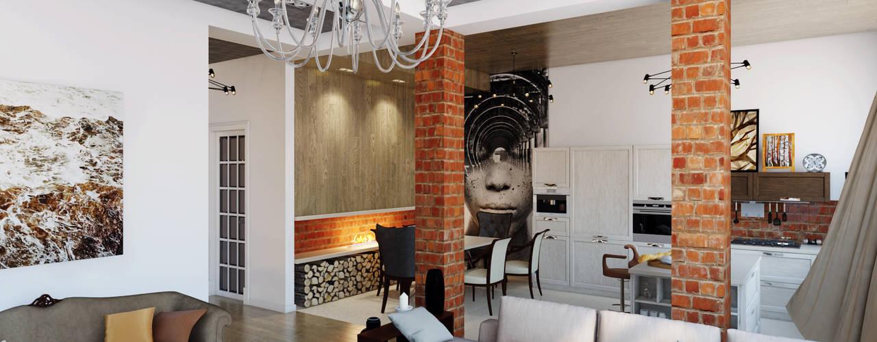 Тот самый LOFT house Гостиная в стиле лофт от Дизайн Мира Лофт Кирпичи