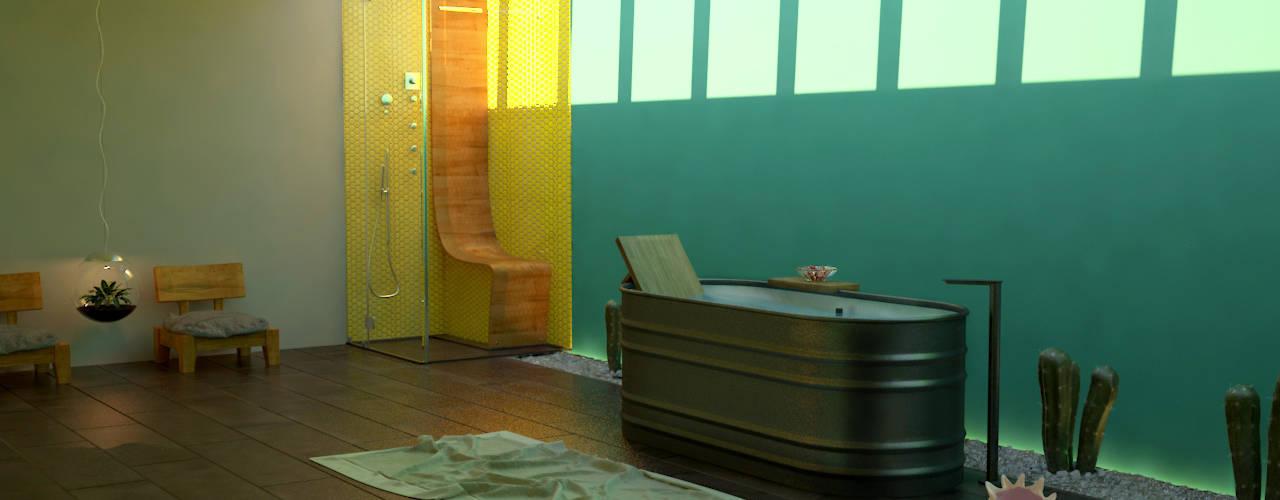 SIMPLE actitud Eclectic style bathroom Wood Yellow