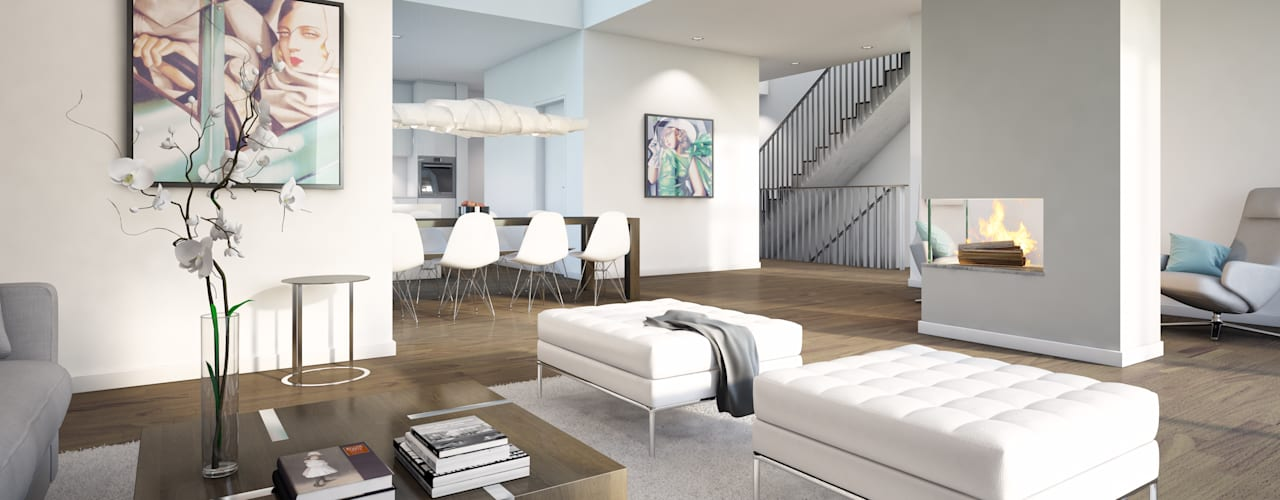 Wohnungen Bauträger 3D-Visualisierung Klassische Wohnzimmer von winhard 3D Klassisch