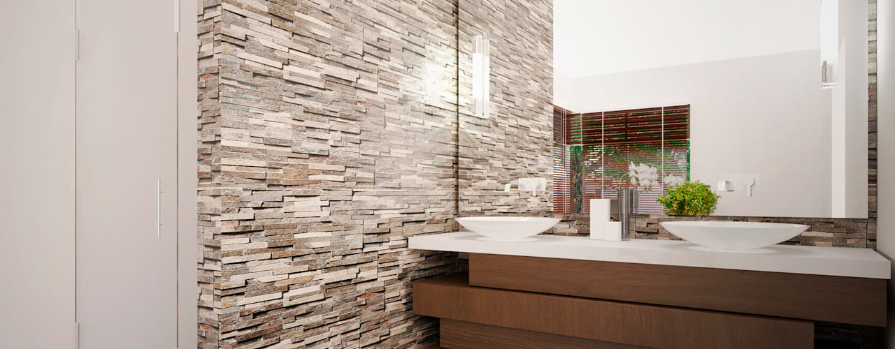 """Proyecto Arquitectónico """" Casa XC03"""" Baños modernos de PORTO Arquitectura + Diseño de Interiores Moderno"""