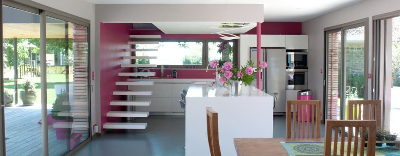 Projekty,  Kuchnia zaprojektowane przez Atelier d'Architecture Marc Lafagne,  architecte dplg