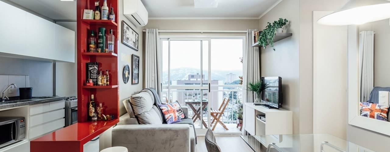 APTO OS - CAMAQUÃ / PORTO ALEGRE: Salas de estar  por Ambientta Arquitetura