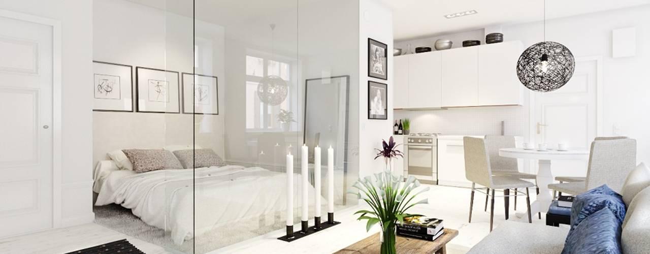 Квартира-студия в скандинавском стиле: Гостиная в . Автор – Eugene Chekhov,