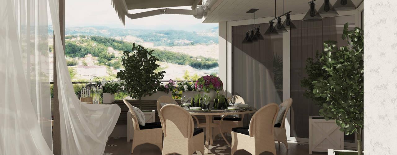 Терраса на крыше дома г. Сочи Балконы и веранды в эклектичном стиле от Студия дизайна Дарьи Одарюк Эклектичный
