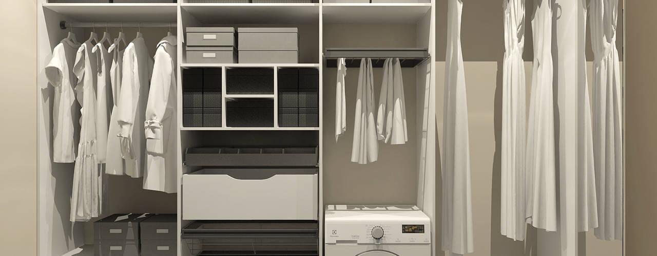 Дизайн-проект квартиры в ЖК Москва А101 Aledoconcept Гардеробная в стиле модерн Белый