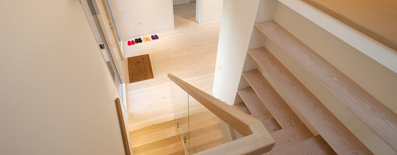 Bourne Lane Eco-House, Kent Modern Corridor, Hallway and Staircase by Nash Baker Architects Ltd Modern