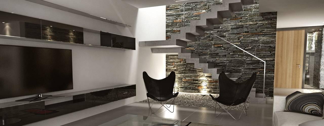 Salas de estilo moderno de Chazarreta-Tohus-Almendra Moderno