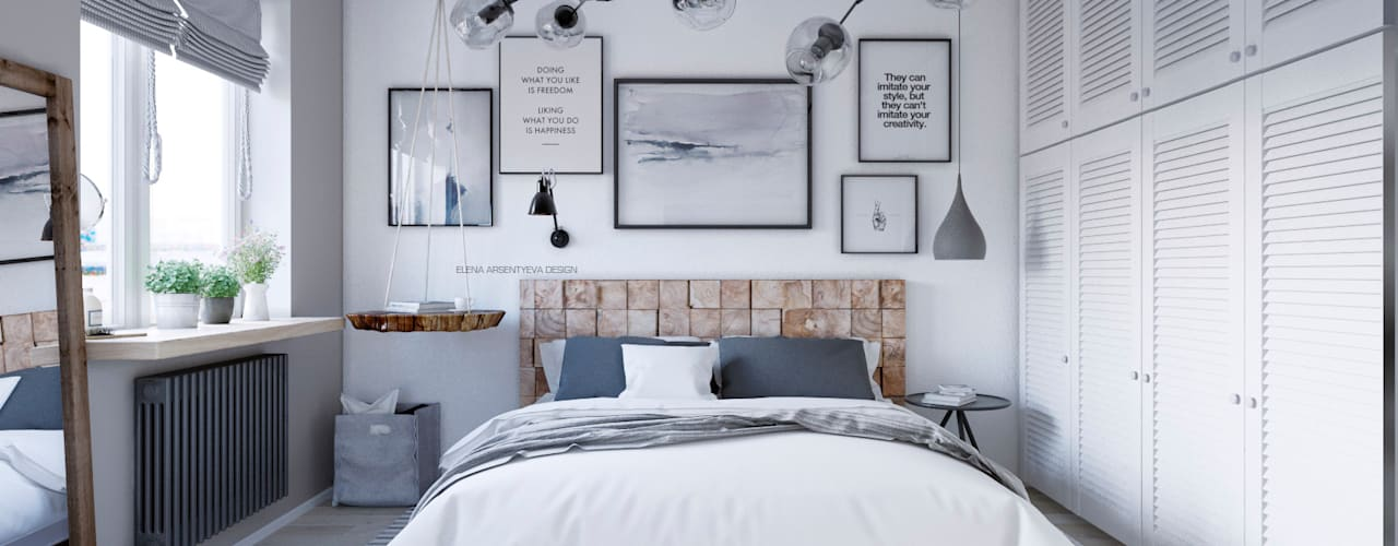 Scandinavian style bedroom by Elena Arsentyeva Scandinavian