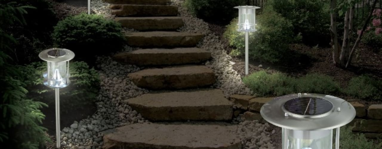 Kompakte Solar-Standleuchte aus Edelstahl mit 6 hellen weißen LEDs (ohne Blauschimmer), Höhe 63,5 cm:   von Solarlichtladen.de