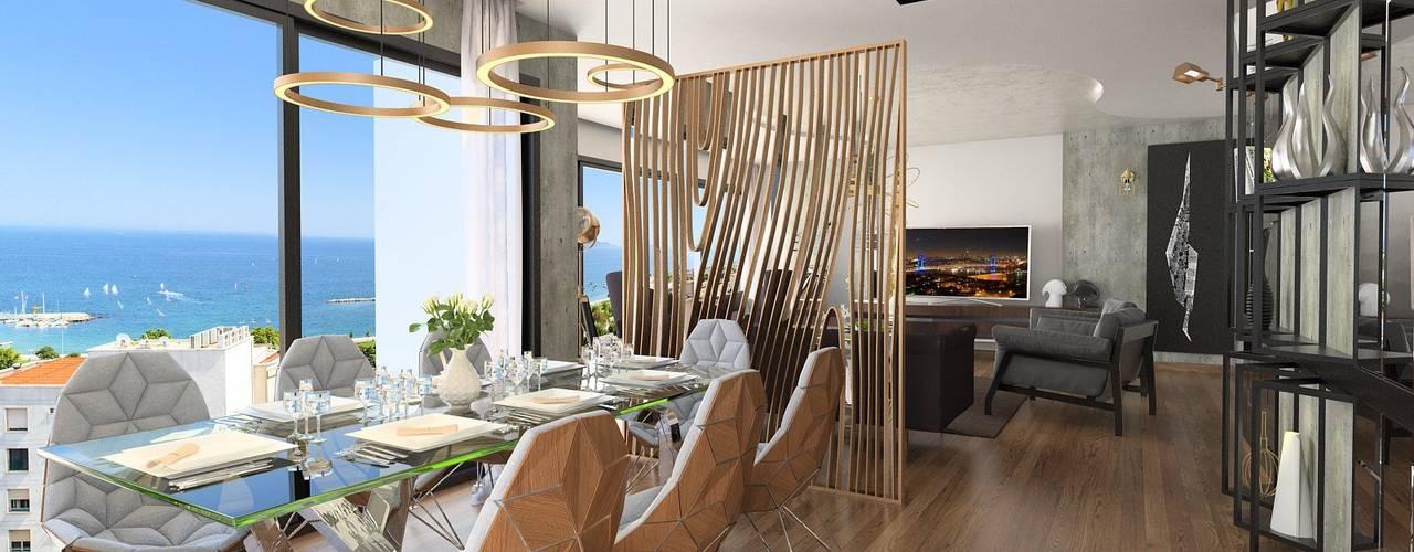 Suadiye rezidans Murat Aksel Architecture Modern Yemek Odası Bakır/Bronz/Pirinç Altın Sarısı