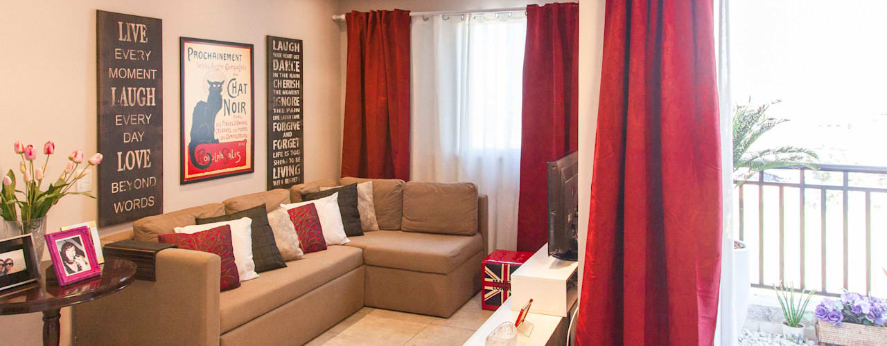 Apartamento Single - São Paulo - Brasil: Salas de estar ecléticas por Dunder Koch Arquitetura