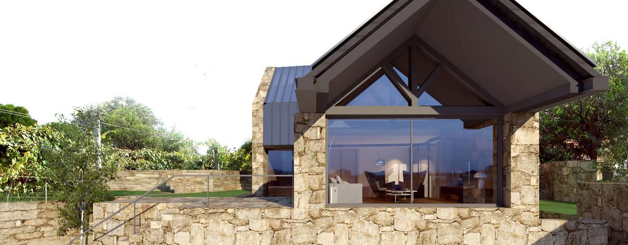 Alçado principal: Casas  por Davide Domingues Arquitecto