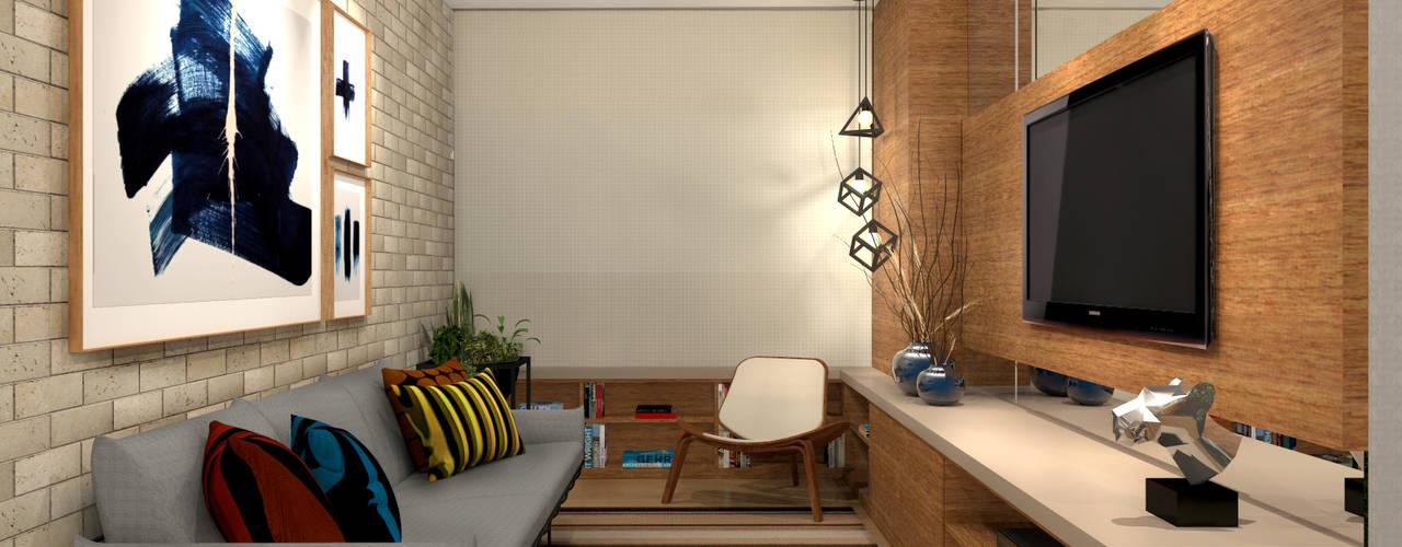 Apartamento Barra da Tijuca – RJ Salas de estar industriais por Konverto Interiores + Arquitetura Industrial