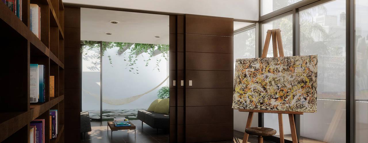 Minimalist corridor, hallway & stairs by TAQ arquitectura Minimalist