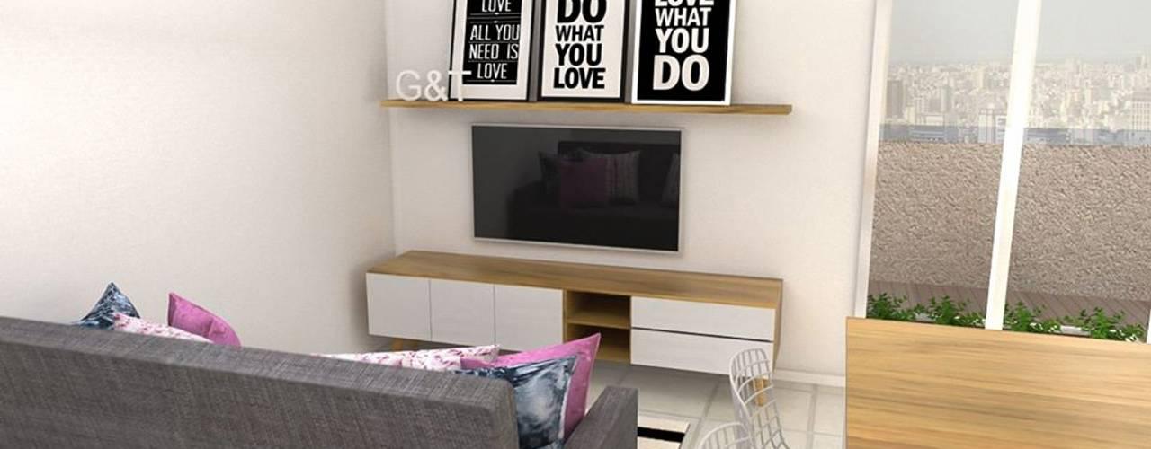 Obra Altolaguirre - Diseño Integral depto. 3 ambientes: Livings de estilo  por Bhavana
