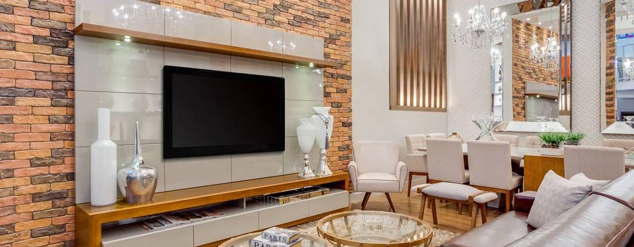 Salas / recibidores de estilo  por Ideatto Móveis e Decorações